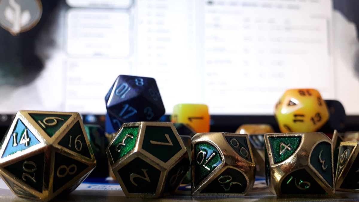 A dungeon master's collection of dice used in popular role-playing games. [Photo © Leif Growen.]