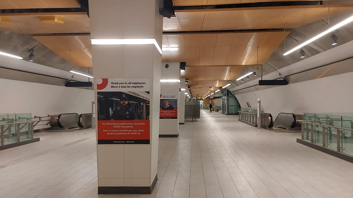 OC Transpo posters on pillars in Lyon Station.
