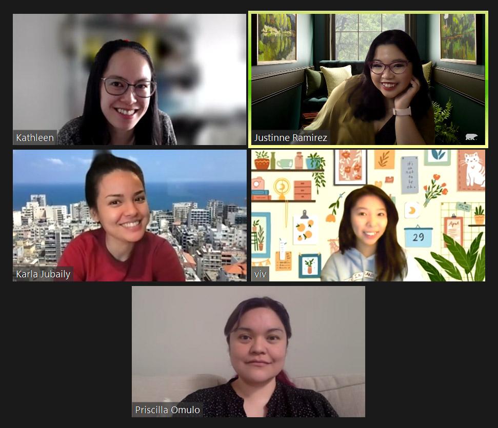 Screenshot from a Season's Greetings Zoom meeting with Kathleen Yang, Justinne Ramirez, Vivienne Ramirez, Priscilla Omulo and Karla Jubaily.