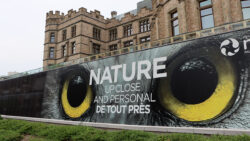 """A promotional banner in front of a museum that reads """"Nature up close and personal"""", with large yellow owls eyes."""