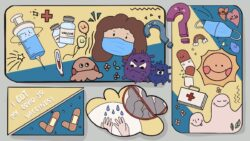 Graphic of a girl wearing a facemask, surrounded by cartoon needles, bandaids, and bacteria.