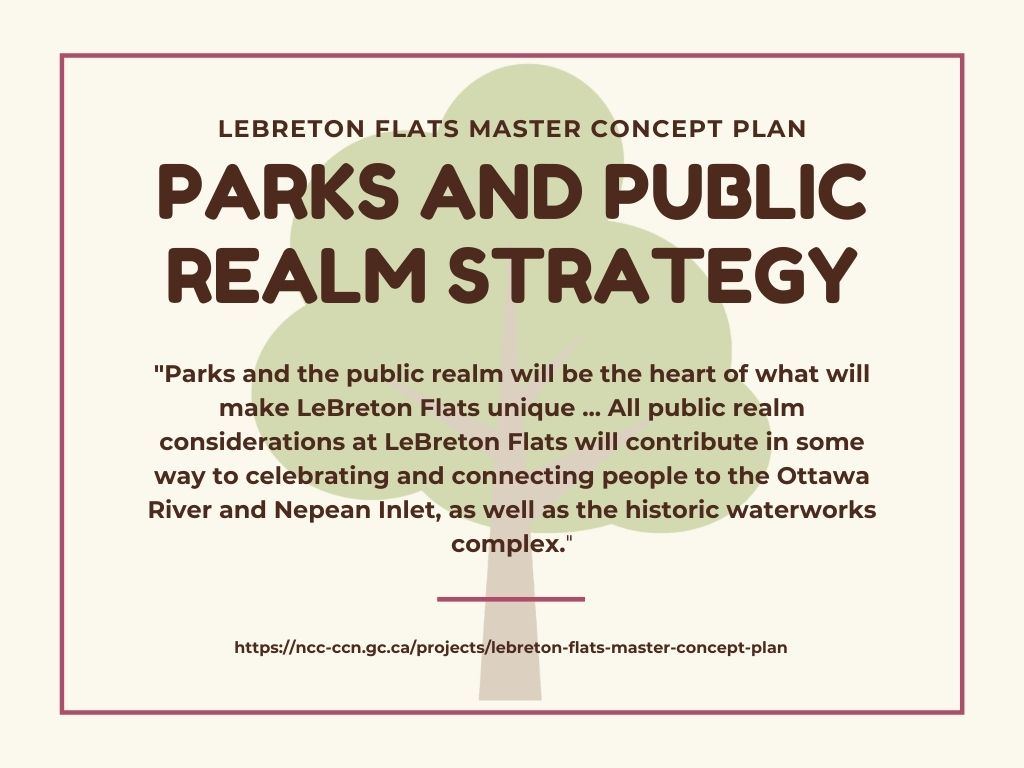 """An infographic with quotes from LeBreton Flats' parks and public realm strategy: """"Parks and the public realm will be the heart of what will make LeBreton Flats unique … All public realm considerations at LeBreton Flats will contribute in some way to celebrating and connecting people to the Ottawa River and Nepean Inlet, as well as the historic waterworks complex."""""""