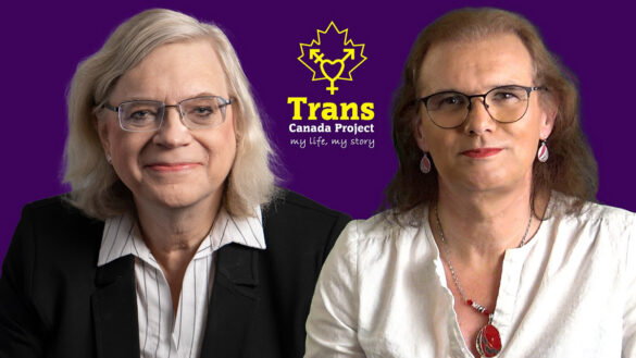 Kelly Schwab and Cary Scott pictured with the Trans Canada Project logo