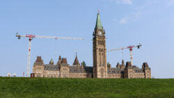 Parliament Hill Buildings with crane in background